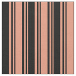 [ Thumbnail: Dark Salmon and Black Colored Lines Fabric ]