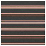 [ Thumbnail: Dark Salmon and Black Stripes/Lines Pattern Fabric ]