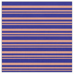 [ Thumbnail: Dark Salmon and Blue Striped/Lined Pattern Fabric ]