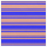[ Thumbnail: Dark Salmon and Blue Stripes Fabric ]