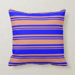 [ Thumbnail: Dark Salmon and Blue Stripes Throw Pillow ]