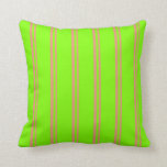 [ Thumbnail: Dark Salmon and Chartreuse Colored Lines Pillow ]