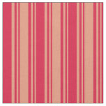 [ Thumbnail: Dark Salmon and Crimson Lined Pattern Fabric ]