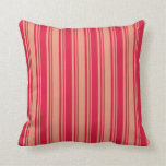 [ Thumbnail: Dark Salmon and Crimson Lined Pattern Throw Pillow ]