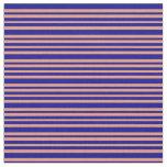 [ Thumbnail: Dark Salmon and Dark Blue Lined Pattern Fabric ]