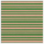[ Thumbnail: Dark Salmon and Dark Green Stripes Pattern Fabric ]