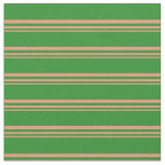 [ Thumbnail: Dark Salmon and Forest Green Colored Stripes Fabric ]