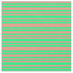 [ Thumbnail: Dark Salmon and Green Colored Striped Pattern Fabric ]