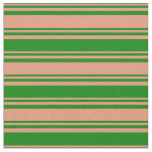 [ Thumbnail: Dark Salmon and Green Colored Stripes Fabric ]