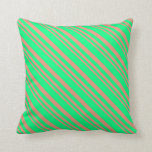 [ Thumbnail: Dark Salmon and Green Colored Stripes Throw Pillow ]