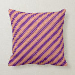[ Thumbnail: Dark Salmon and Indigo Colored Lined Pattern Throw Pillow ]