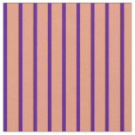 [ Thumbnail: Dark Salmon and Indigo Striped Pattern Fabric ]