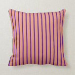 [ Thumbnail: Dark Salmon and Indigo Striped Pattern Pillow ]
