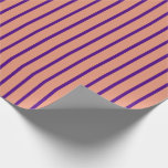 [ Thumbnail: Dark Salmon and Indigo Striped Pattern Wrapping Paper ]