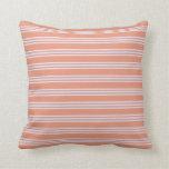 [ Thumbnail: Dark Salmon and Lavender Stripes Throw Pillow ]