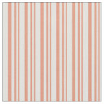 [ Thumbnail: Dark Salmon and Light Cyan Colored Stripes Fabric ]