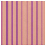 [ Thumbnail: Dark Salmon and Purple Stripes/Lines Pattern Fabric ]