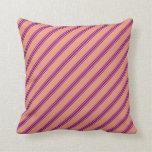 [ Thumbnail: Dark Salmon and Purple Stripes/Lines Pattern Throw Pillow ]