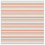[ Thumbnail: Dark Salmon & Beige Colored Lined/Striped Pattern Fabric ]