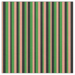 [ Thumbnail: Dark Salmon, Black, and Forest Green Colored Lines Fabric ]