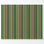 [ Thumbnail: Dark Salmon, Black, and Forest Green Colored Lines Wrapping Paper ]
