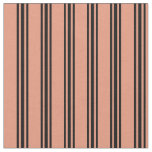 [ Thumbnail: Dark Salmon & Black Colored Lined/Striped Pattern Fabric ]