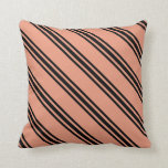 [ Thumbnail: Dark Salmon & Black Colored Lined/Striped Pattern Throw Pillow ]