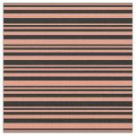 [ Thumbnail: Dark Salmon & Black Colored Pattern Fabric ]