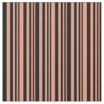 [ Thumbnail: Dark Salmon & Black Colored Stripes/Lines Pattern Fabric ]