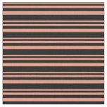 [ Thumbnail: Dark Salmon & Black Lined Pattern Fabric ]
