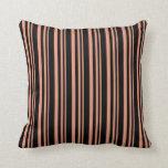[ Thumbnail: Dark Salmon & Black Lined Pattern Throw Pillow ]