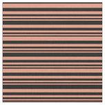 [ Thumbnail: Dark Salmon & Black Lines Pattern Fabric ]