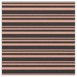[ Thumbnail: Dark Salmon & Black Pattern of Stripes Fabric ]