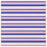 [ Thumbnail: Dark Salmon, Blue, and White Colored Stripes Fabric ]