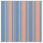 [ Thumbnail: Dark Salmon & Blue Colored Lined/Striped Pattern Fabric ]