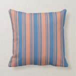 [ Thumbnail: Dark Salmon & Blue Colored Lined/Striped Pattern Throw Pillow ]