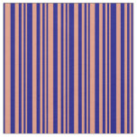 [ Thumbnail: Dark Salmon & Blue Colored Stripes Pattern Fabric ]