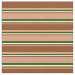 [ Thumbnail: Dark Salmon, Brown, Tan & Dark Green Colored Fabric ]
