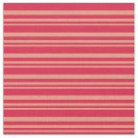 [ Thumbnail: Dark Salmon & Crimson Colored Pattern of Stripes Fabric ]