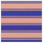[ Thumbnail: Dark Salmon & Dark Blue Colored Pattern Fabric ]
