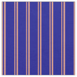 [ Thumbnail: Dark Salmon & Dark Blue Lined/Striped Pattern Fabric ]