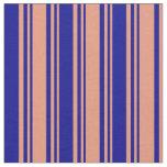 [ Thumbnail: Dark Salmon & Dark Blue Lines/Stripes Pattern Fabric ]