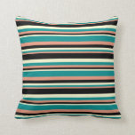 [ Thumbnail: Dark Salmon, Dark Cyan, Light Yellow & Black Throw Pillow ]