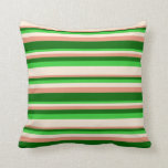 [ Thumbnail: Dark Salmon, Dark Green, Lime Green, and Beige Throw Pillow ]