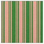[ Thumbnail: Dark Salmon & Dark Green Stripes/Lines Pattern Fabric ]