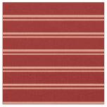 [ Thumbnail: Dark Salmon & Dark Red Lines Pattern Fabric ]