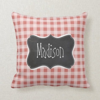 Dark Salmon Gingham; Checkered Pillows
