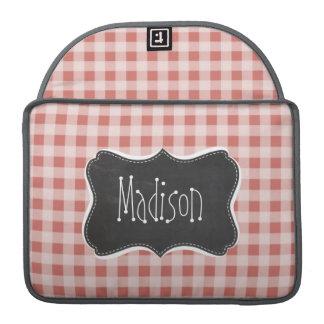 Dark Salmon Gingham; Checkered Sleeve For MacBook Pro