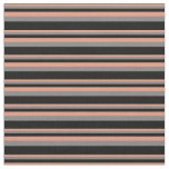 [ Thumbnail: Dark Salmon, Gray & Black Colored Lines Pattern Fabric ]