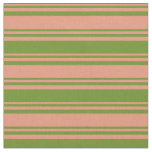 [ Thumbnail: Dark Salmon & Green Colored Lined/Striped Pattern Fabric ]